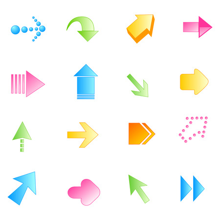 back round: Collection of different shaped colorful arrow buttons isolated on white background
