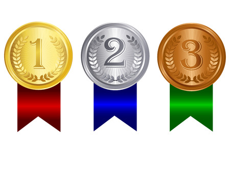 2nd: Gold silver and bronze medals for 1st , 2nd and 3rd places with red blue and green ribbons. Isolated clipart  graphic on white background