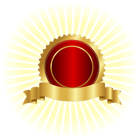 red seal: Gold and red seal  stamp with golden banner illustration isolated on white