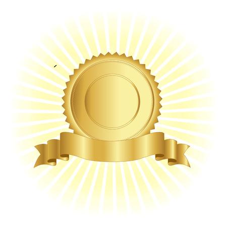 ゴールド スタンプ光る背景デザインにリボンとシールします。