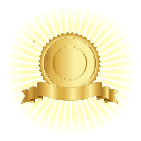Gold stamp / seal with ribbon banner on glowing background design. Vectores