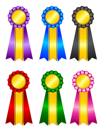 rosettes: Set of elegant blank award ribbon rosettes in shiny purple blue green black pink and red with gold colors isolated on white background Illustration