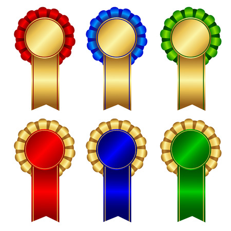 Elegant blank award ribbon rosettes in shiny red green and blue with gold isolated on white background