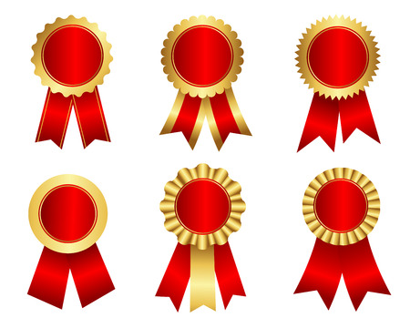 rosettes: Collection of different shaped blank award ribbon rosettes in shiny red snd gold  golden  isolated on white.