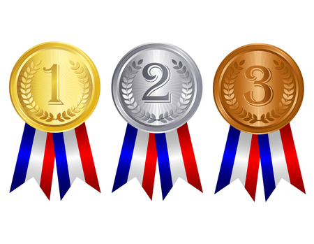 victorious: Gold , silver , and bronze medal set with red blue silver mix color ribbons Illustration