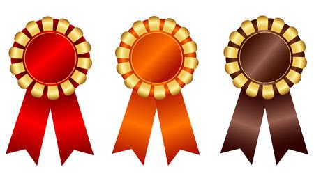 escarapelas: Rosetones de la cinta premio en blanco elegantes en brillante rojo anaranjado y marrón de oro aisladas sobre fondo blanco