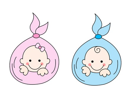 infantile: Two newborn babies [girl and a boy] illustration isolated on white background