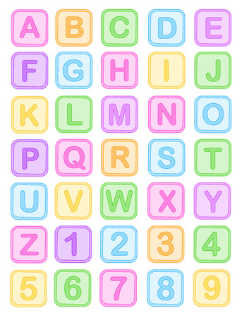 toy block: Cute colorful baby blocks English alphabet and numbers collection isolated on white background