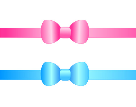 Blue and pink satin ribbon bows isolated on white background clipart