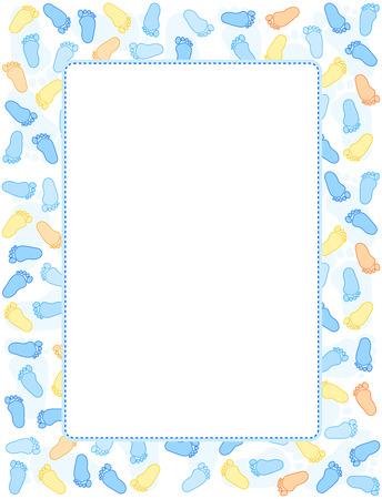 Bébé empreintes cadre / frontière avec l'espace vide au milieu Banque d'images - 38532391