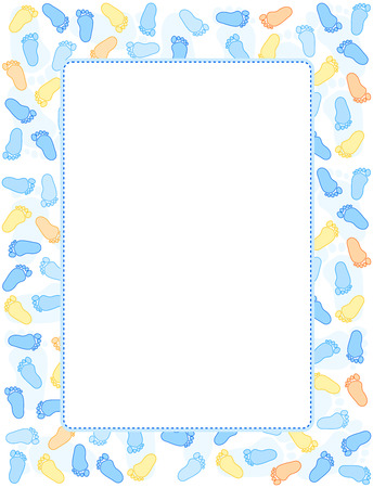 Baby foot prints frame  border with empty space in middle