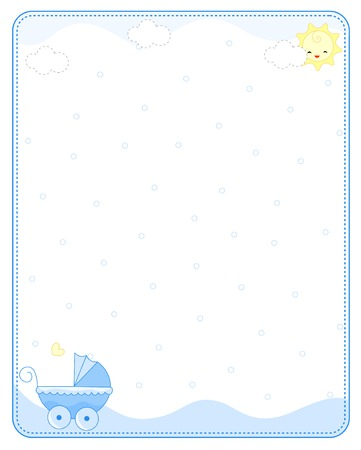 Baby boy arrival  announcement  party invitation card Illustration