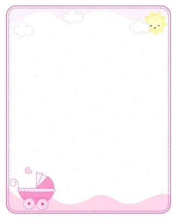 Roze baby meisje aankomst aankondiging  uitnodiging van de kaart  het frame Stock Illustratie