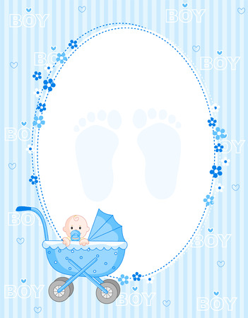 arrival: Baby boy arrival card party invitation