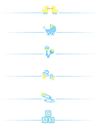 separator: Cute baby boy divider set including  carriage, safety pins, pacifier, duck isolated on white background.