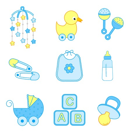 mobile accessories: Cute baby boy icon  accessories collection including bib, carriage, safety pins, pacifier, feeding bottle, mobile, duck isolated on white background.