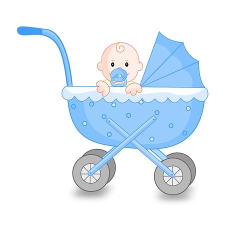 Ilustración de un carro del ir azul con un pequeño muchacho lindo bebé en el interior aislado en el fondo blanco