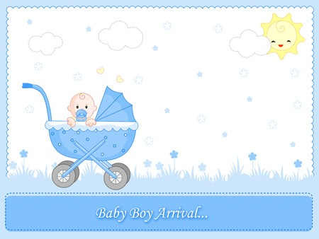 Blue baby boy arrival card background  frame with go cart