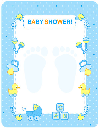 baby ducks: Illustration of a baby shower invitation card  border  frame for a boy