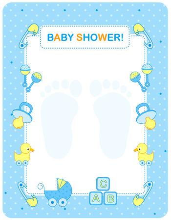 Illustration von einem Baby-Dusche Einladungskarte  Grenze  Rahmen für einen Jungen
