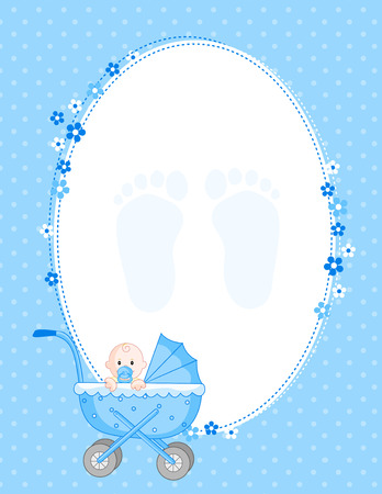Baby boy arrival card /party invitation Stock Vector - 38532402