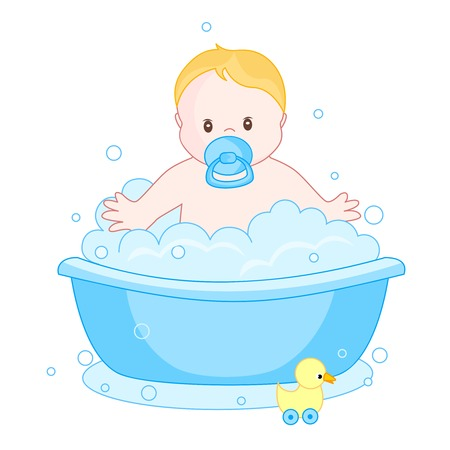baby bath: An illustration of a cute little baby boy having  bath isolated on white background. child bubble bath