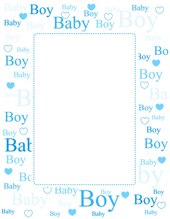 welcome baby: Cute blue frame  border with baby boy text and hearts with empty space