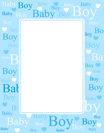 Cute blue frame / border with baby boy text and hearts with empty space Vectores