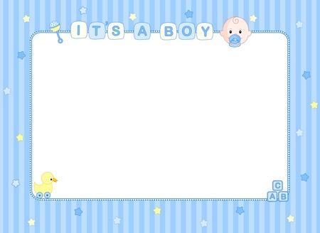 Het is een jongen baby boy aankomst aankondiging achtergrond  frame van de Partij Stock Illustratie
