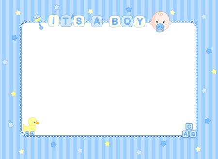 boys: Its a boy baby boy arrival announcement background  party frame
