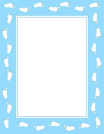 baby announcement: Baby boy footprints border  frame  with empty white space to add text Illustration