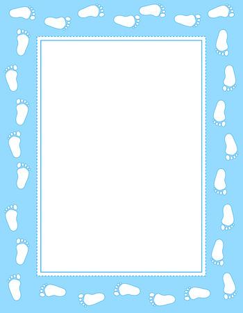 Baby boy voetafdrukken grens  frame met lege witte ruimte om tekst toe te voegen Stock Illustratie