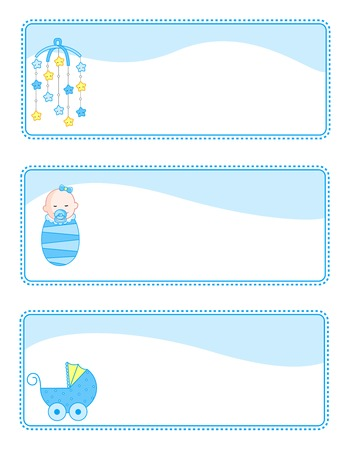 baby gift: Cute baby boy gift tags with baby related icons. blue color set for baby boys Illustration