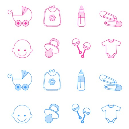 feeding bottle: Cute baby girl and boy icon collection including baby face, bib, carriage, safety pins, pacifier, feeding bottle isolated on white background.