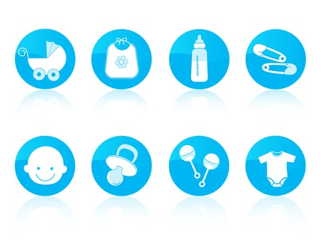 Cute baby Boy icon collection in blue including baby face, bib, carriage, safety pins, pacifier, feeding bottle, rattle isolated on white background. Vector