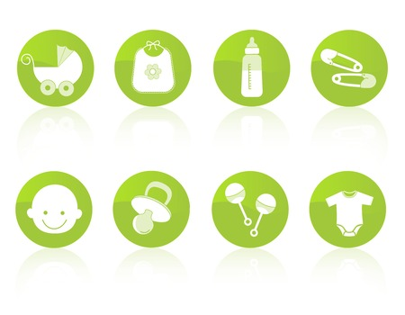 Cute baby icon collection in green including baby face, bib, carriage, safety pins, pacifier, feeding bottle, rattle isolated on white background. Vector