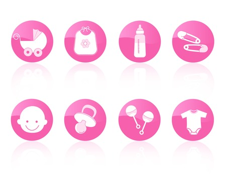 baby goods: Cute circle shape baby girl icon collection in pink including baby face, bib, carriage, safety pins, pacifier, feeding bottle, rattle isolated on white background.