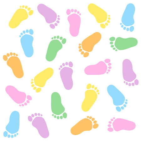 Cute and colorful baby footprints seamless pattern white background Vettoriali