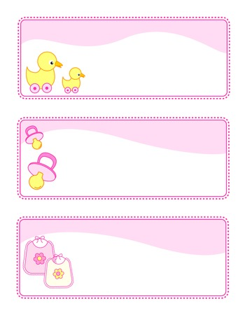 cute baby girls: Cute baby girl gift tags with baby related icons. pink color set for baby girls