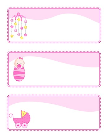 cute baby girls: Cute baby girl tags with baby related icons. pink color set for baby girls