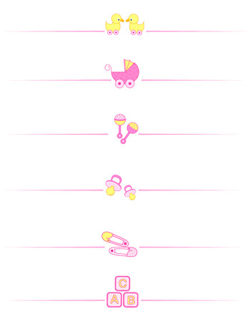 separator: Cute baby girl divider set including  carriage, safety pins, pacifier, duck isolated on white background.