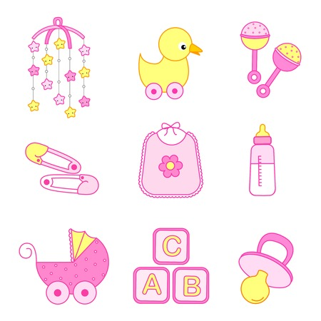 Cute baby girl icon  accessories collection including bib, carriage, safety pins, pacifier, feeding bottle, mobile, duck isolated on white background. Illustration