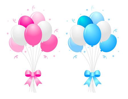 Illustration d'un bouquet de ballons bleus et blancs) roses multicolores avec des rubans bouclés cliparts isolé sur fond blanc