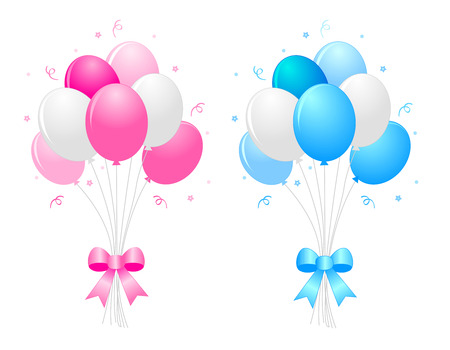 Illustration of a bunch of multi-colored pink blue and white) balloons with curly ribbons clipart isolated on white background Иллюстрация