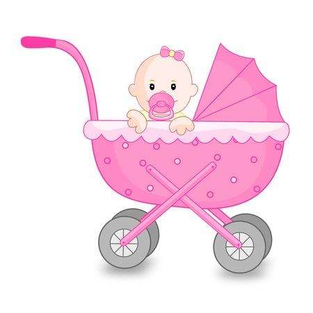 Ilustración de un carro del ir de color rosa con una niña linda bebé en el interior aislado en el fondo blanco