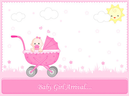 announcing: Cute pink baby girl arrival card background  frame with a go cart