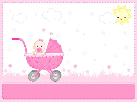 newborn baby girl: Cute pink baby girl arrival card background  fram with a go cart Illustration