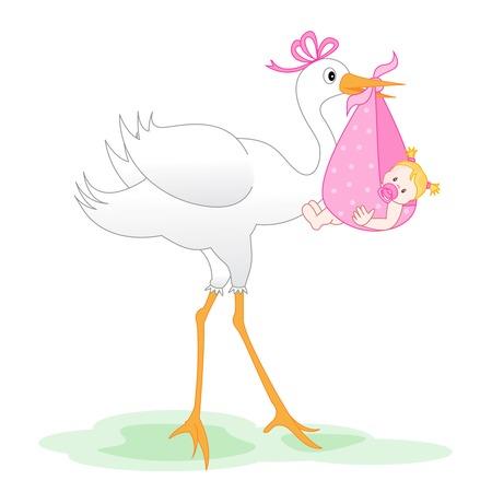 번들 신생아 아기 소녀를 제공하는 황새의 그림 흰색으로 격리