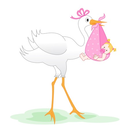 Illustration of a stork delivering a bundled newborn baby girl isolated on white Illustration