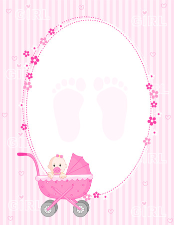 arrive: Baby girl arrival announcement card in pink